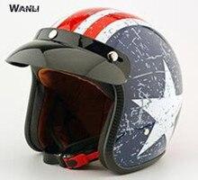 Motorcycle helmet jet Vintage helmet Open face retro 3 4 half helmet Retro Leather Motorcycle Painted