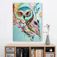 High Skills Artist Handmade High Quality Owl Oil Painting on Canvas Colorful Colors Animal Owl Oil Canvas Art Painting for Wall