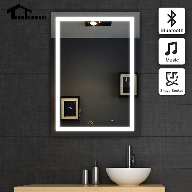 Free Shipping 50x70cm Frame Illuminated Wall Mirrors For Bathroom Bluetooth  Speaker Sensor 90 240V LED