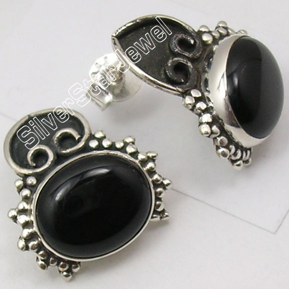 Chanti International Silver Real Black Onyx Ethnic Unusual Stud Earrings 1 8 Cm Oxidized