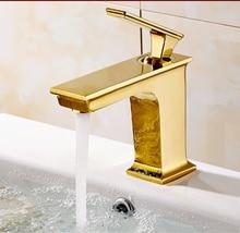 Nowa Luksusowa przyjazd wysokiej jakości złota zakończeniu zimnej i ciepłej łazience kran zlew bateria umywalkowa, woda z kranu miksera