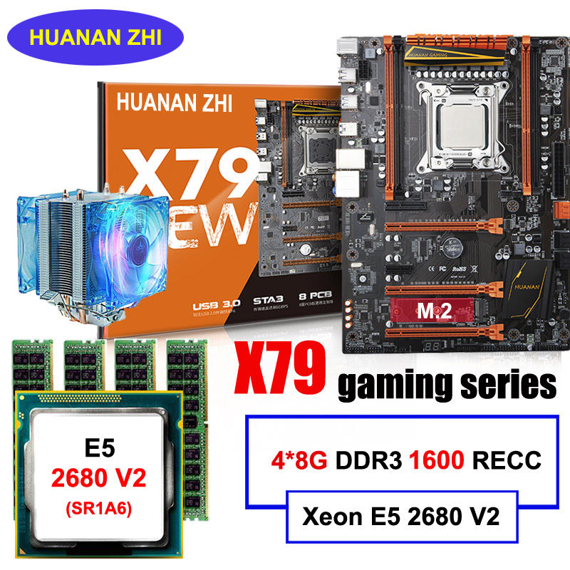 Boa qualidade HUANAN ZHI deluxe desconto X79 motherboard com slot para CPU Xeon M.2 E5 2680 V2 com RAM cooler 32G (4*8G) 1600 RECC