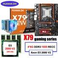 Buena calidad HUANAN ZHI deluxe descuento X79 Placa base con M.2 ranura CPU Xeon E5 2680 V2 con enfriador RAM 32G (4*8G) 1600 RECC