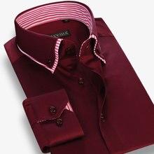 Мужская двухслойная рубашка с воротником, удобная мягкая хлопковая рубашка в полоску с длинным рукавом, Повседневная приталенная рубашка на пуговицах