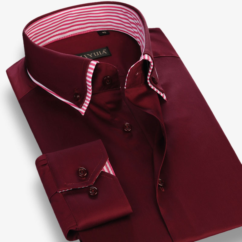 Men's Double Layer Collar Long Sleeve Dress Shirts Inner Striped Comfortable Smooth Cotton Casual Standard-fit Button-down Shirt