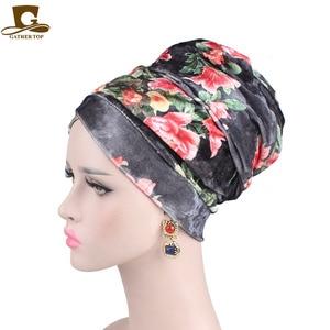 Image 3 - ผู้หญิงใหม่ดอกไม้หรูหรา Velvet Turban ไนจีเรีย turban Hijab หลอดยาวพิเศษ HEAD Wrap ผ้าพันคอมุสลิม turbante อุปกรณ์เสริมผม