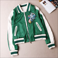 AKJ001 women Cactus embroidery baseball jackets/women Bomber Jackets/embroidery jackets/movie star green jackets/Satin coat3size