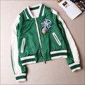 Akj001 женщин кактус вышивки бейсбол / женщины куртки бомбардировщика / вышивка куртки / кинозвезда зеленые куртки / сатин coat3size