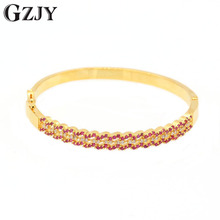 GZJY Fashion Red&White Zircon Bracelets Yellow Gold Color Br