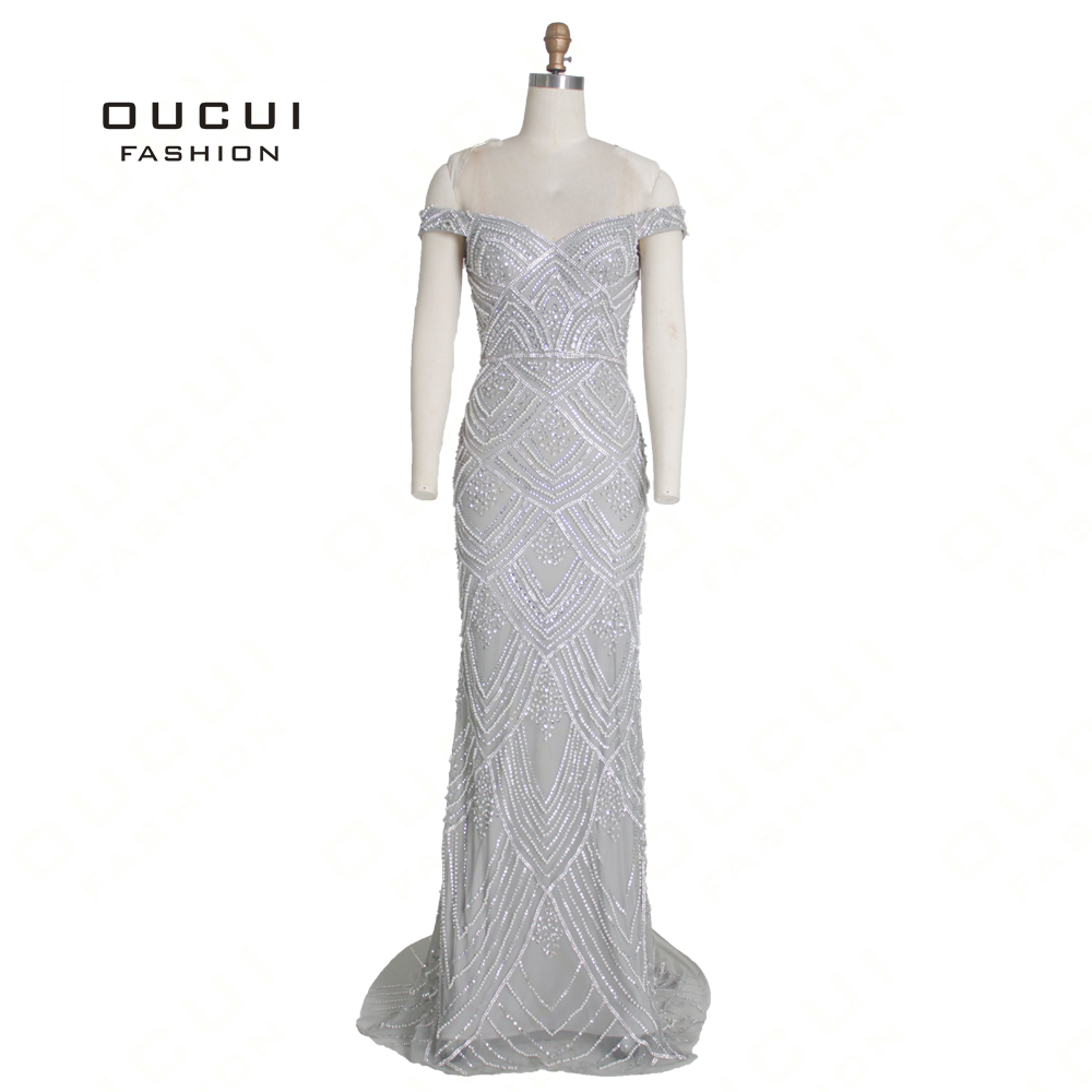 Dubai Silver Luxury Sexy Sweetheart Evening Dresses 2019 Off The Shoulder Diamond Beading Mermaid Gowns Robe De Soiree OL103369B
