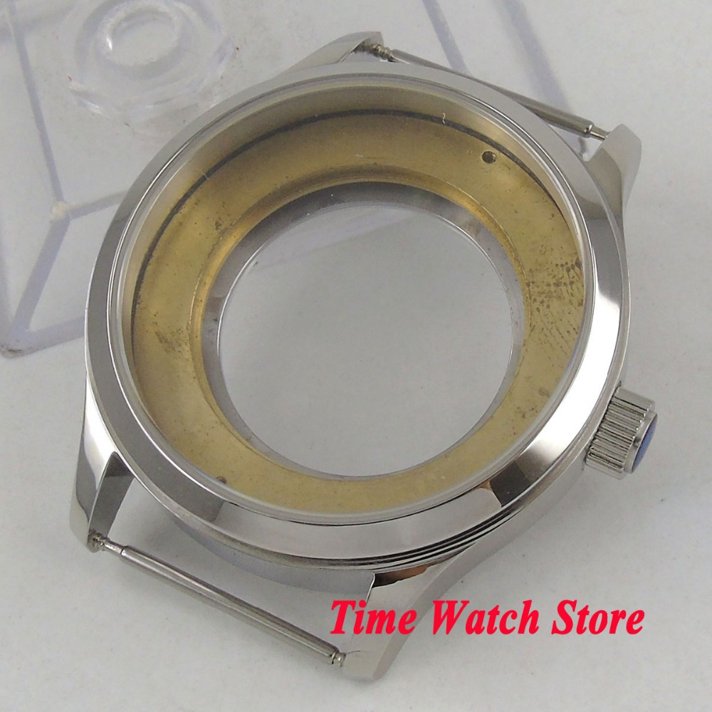 Corgeut 42mm polished 316L Stainless Steel watch case sapphire glass fit ETA 2836 movement C20
