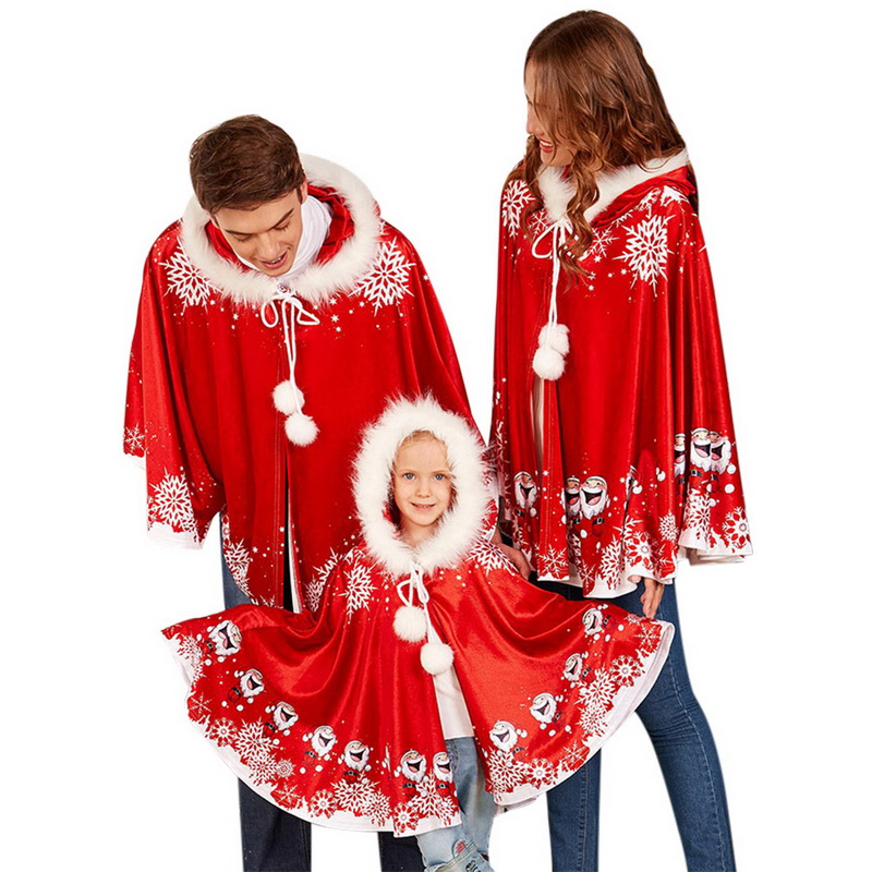 fcf6841a88f Detail Feedback Questions about Laamei 3pcs Christmas Family Clothing Red  Shawl Santa Claus Cartoon Pattern Clothing Halloween Costumes for Family  Cloak on ...