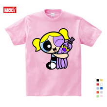 The Powerpuff  Girls T Shirt Pure Cotton lovely pink red Short Sleeve Round Fashion Kids Clothes Tee Summer Casual 3 4 5 Y