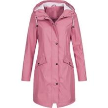 Women Fashion Long Sleeve Hooded Raincoat Windbreaker Hiking