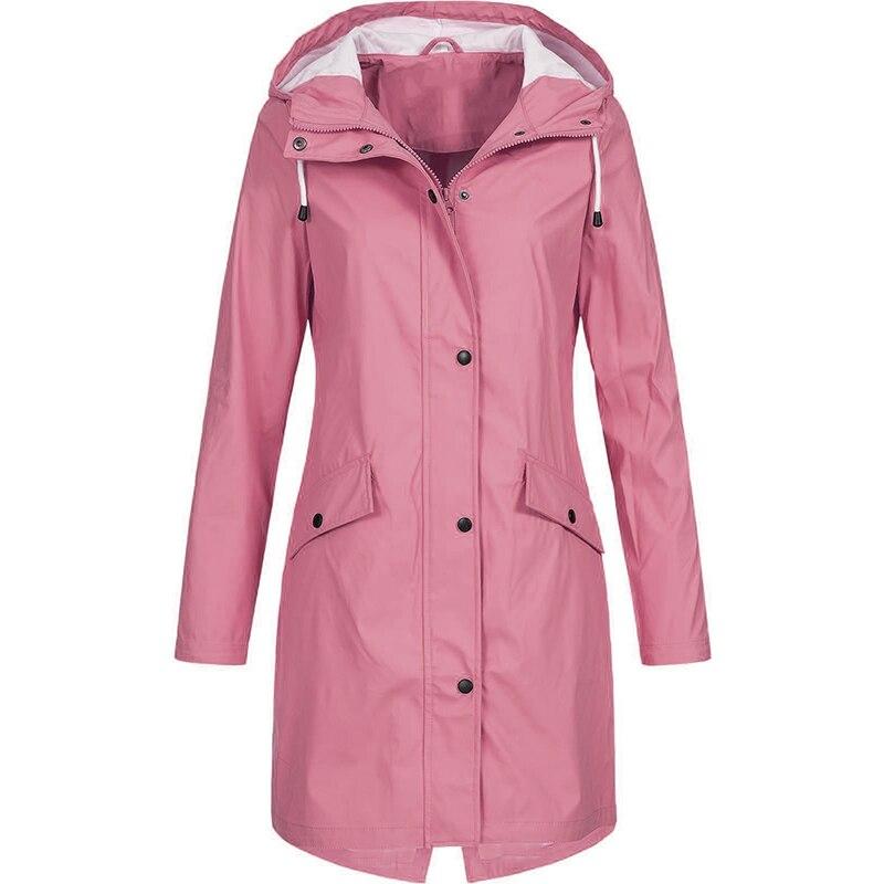 Moda feminina manga longa com capuz capa de chuva blusão caminhadas senhoras casual cor sólida ao ar livre à prova dtrench água trench coats