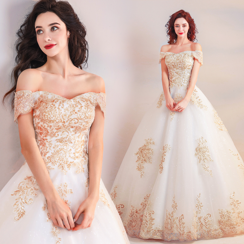 New Arrival Full Length Wedding Dresses Off The Shoulder Gold Sequins Appliques Sparkle Tulle A-line Lace Up Back Bridal Gowns