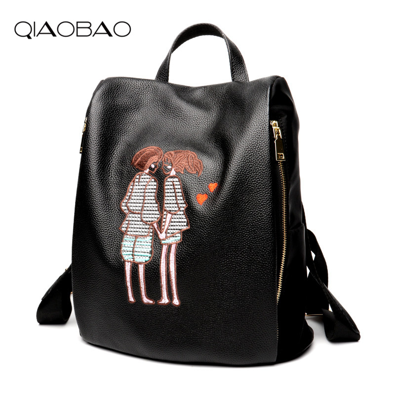 QIAOBAO Embroidered Backpack Women Genuine Cowhide Leather Shoulder Bag Fashion Ladies Backpack Travel Bag Girl's School Bags women s oil wax genuine cowhide leather backpack lady girl school bag crossbody shoulder travel bag for woman mr1037