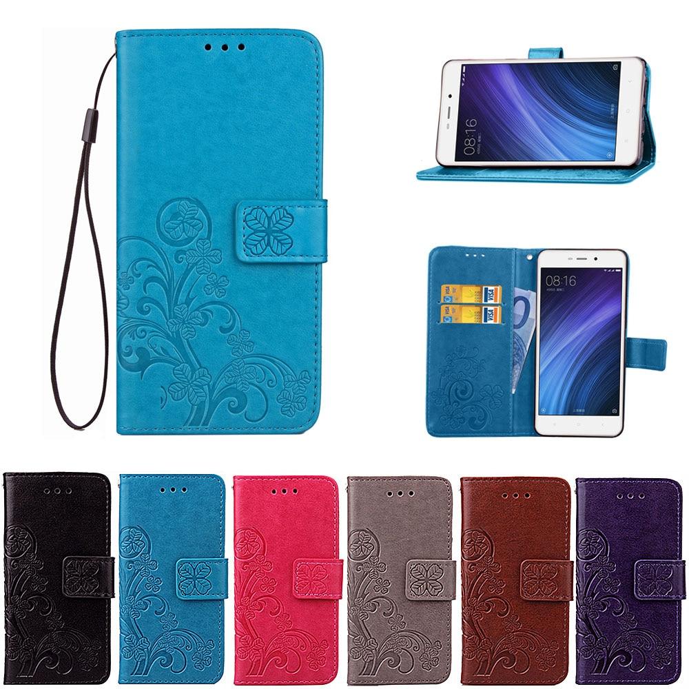 Xiaomi Redmi 4A Väska Flip Wallet PU-läderfodral för Xiaomi Redmi 4a täcker högkvalitativt bokstativ för kortplats