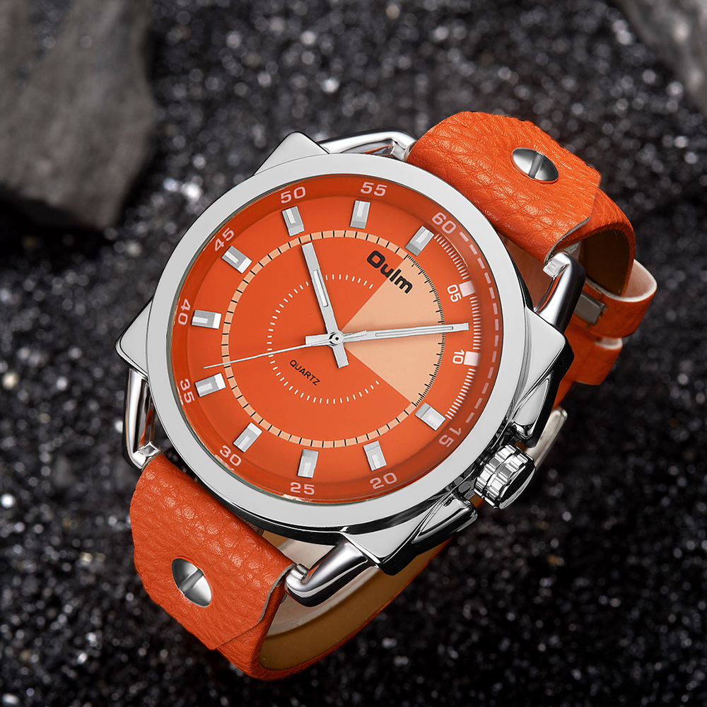 Top Luxury Oulm Orange Color Sports Watches Men Leather
