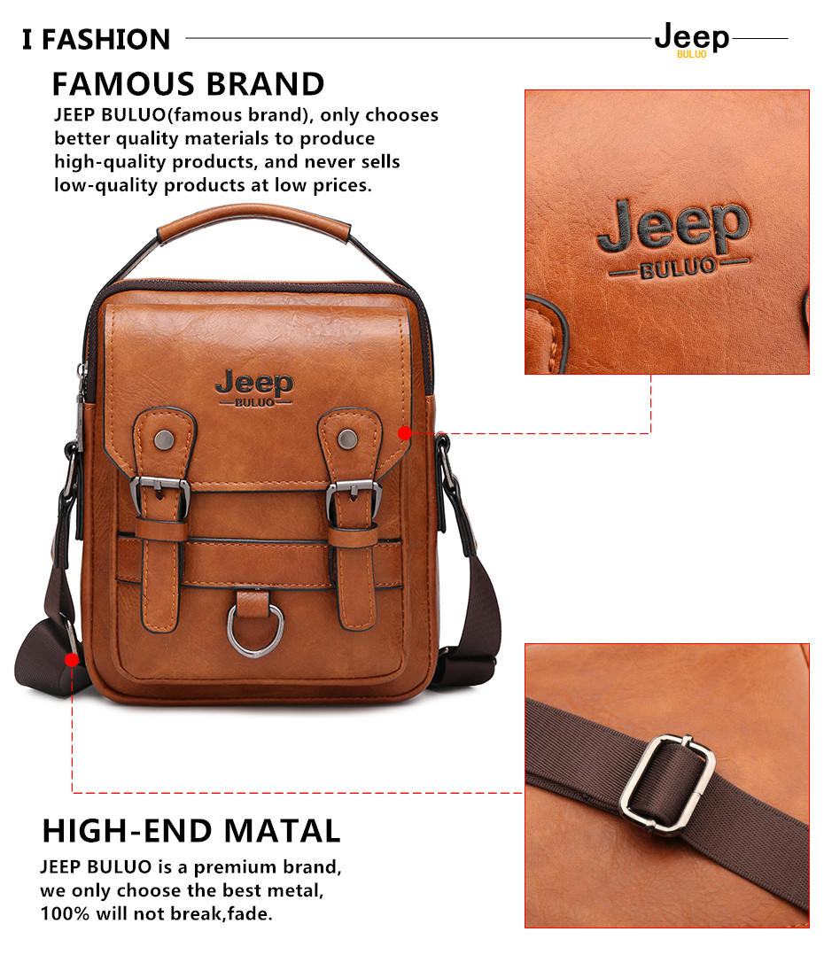 JEEP BULUO Multi-function Men Handbags New Man's Crossbody Shoulder Bag Large Capacity Leather Messenger Bag For Man Travel Cool 2