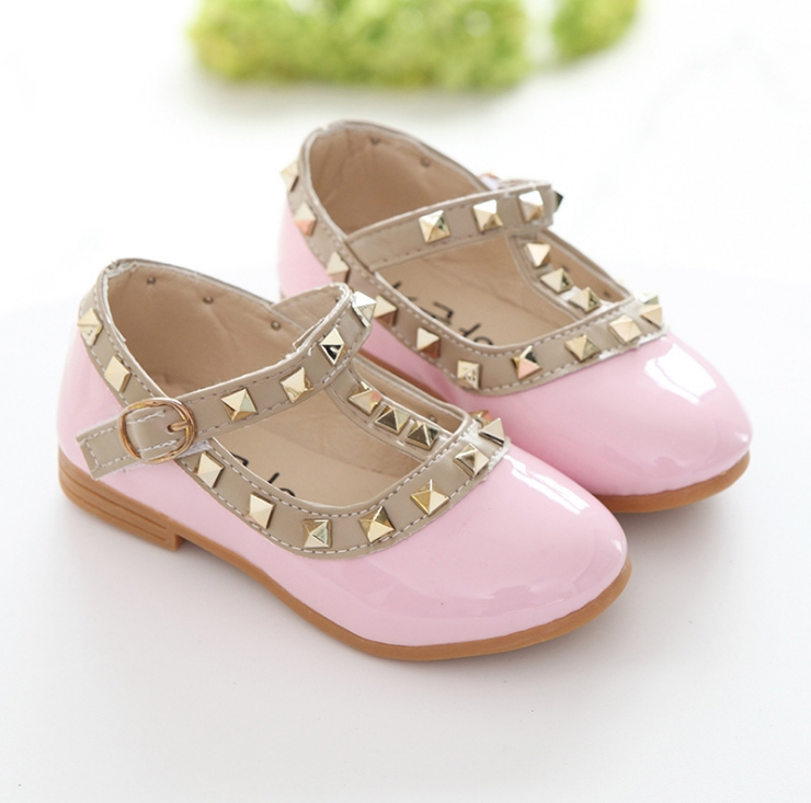 New Fashion Children Lady Girls Princess Shoes PU Leather toddler baby Low-heel Kids mary jean Shoes Rivets Sneakers 2
