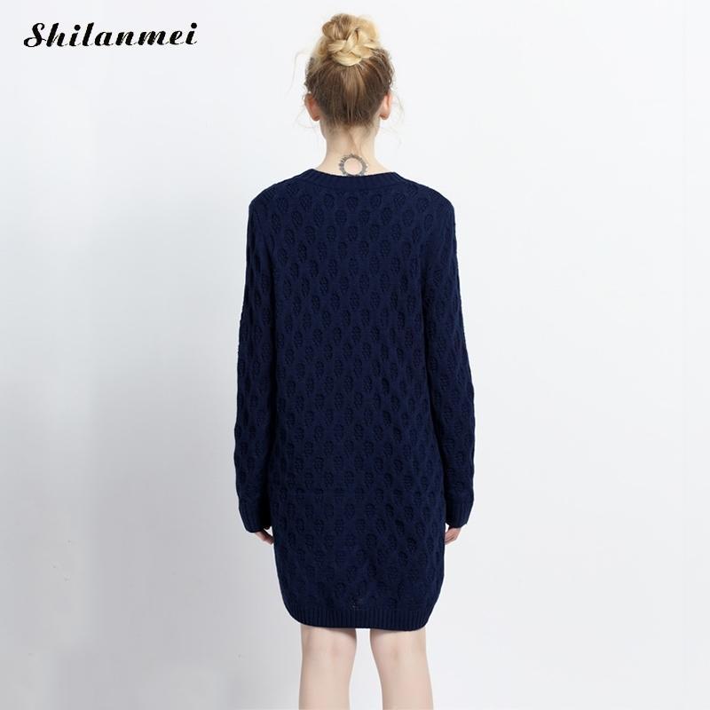 2dfad10f46d 2017 Winter Women Sweater Dress Korean long sleeve Twist Knitted dress  causal side slit Navy Blue Viantage Women Dress Vestidos -in Dresses from  Women s ...