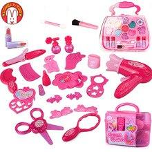 Meninas compõem brinquedos do bebê cosméticos fingir jogar conjunto de cabeleireiro maquiagem cosméticos beleza brinquedo para menina desenvolvendo jogos