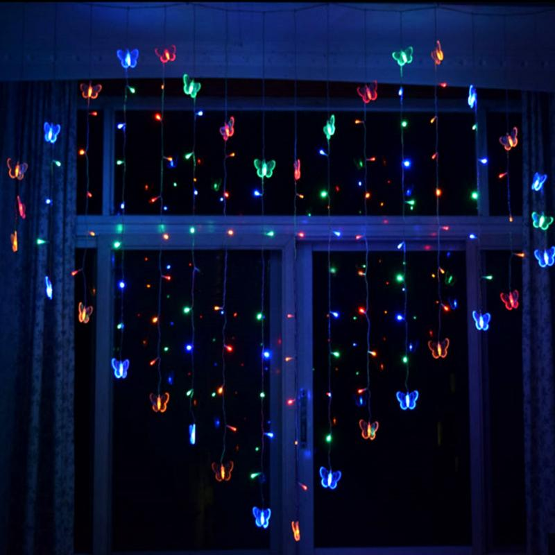 2M LED curtain icicle string lights Butterfly led fairy lights Christmas lamps Icicle Lights Xmas Wedding Party garland Decor