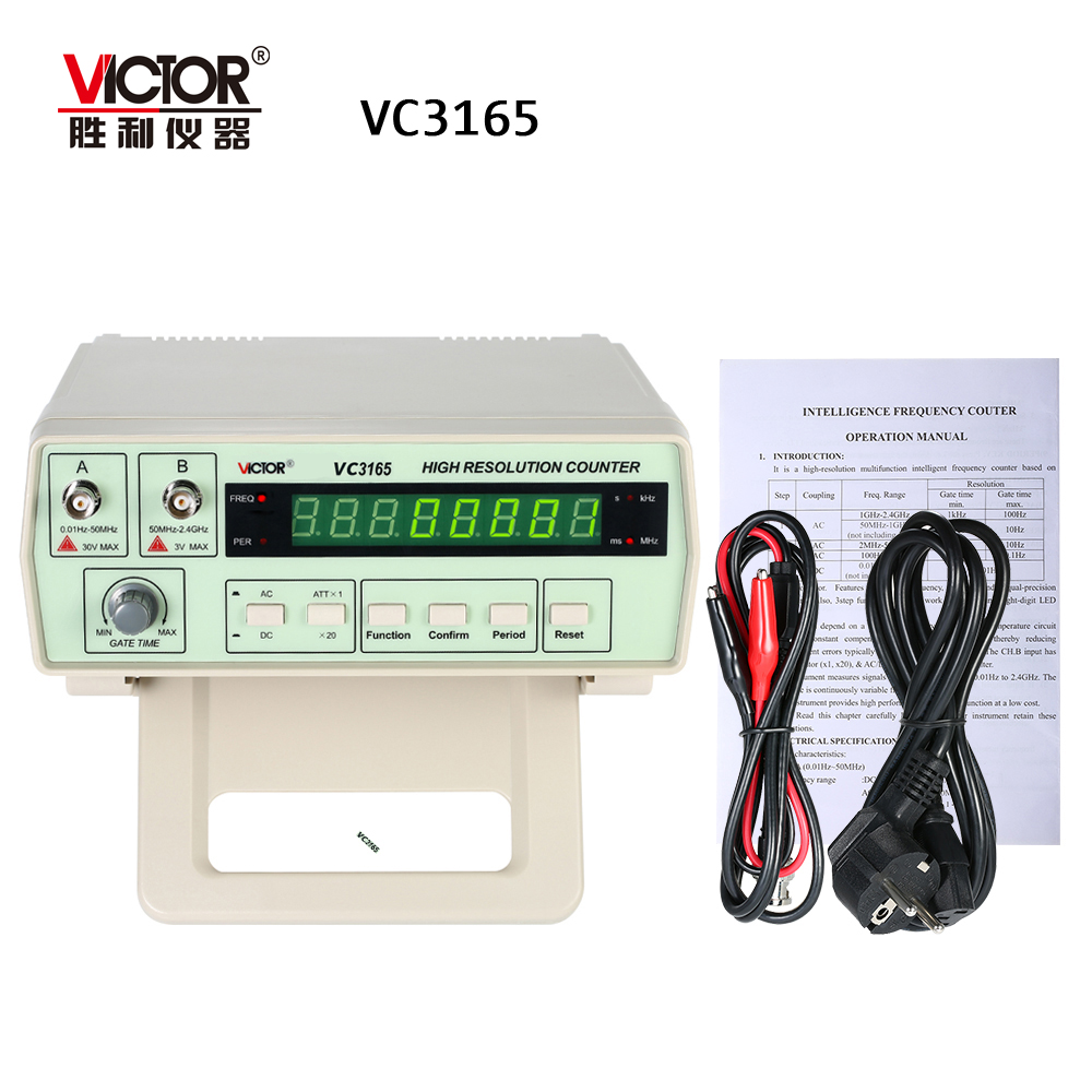 VICTOR VC3165 Precision Frequency Counter frequency meter digital cymometer 0 01Hz 2 4GHz 2Input Channels AC