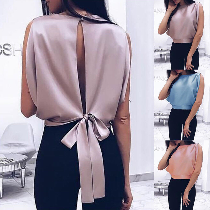 Ladies Elegant Backless Tops Fashion Design Casual Women Summer Sleeveless Big Bow Blouse Sexy Vest Tank Top Shirts