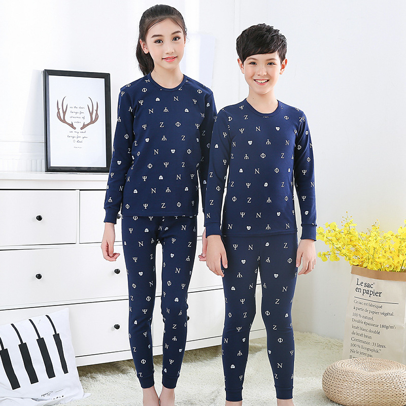 New Teens Clothes Kids Clothing Set Big Boy Girl Pajamas Sets Girls Boys Cotton Sleepwear Full Sleeve Pyjamas Kids Home Clothes