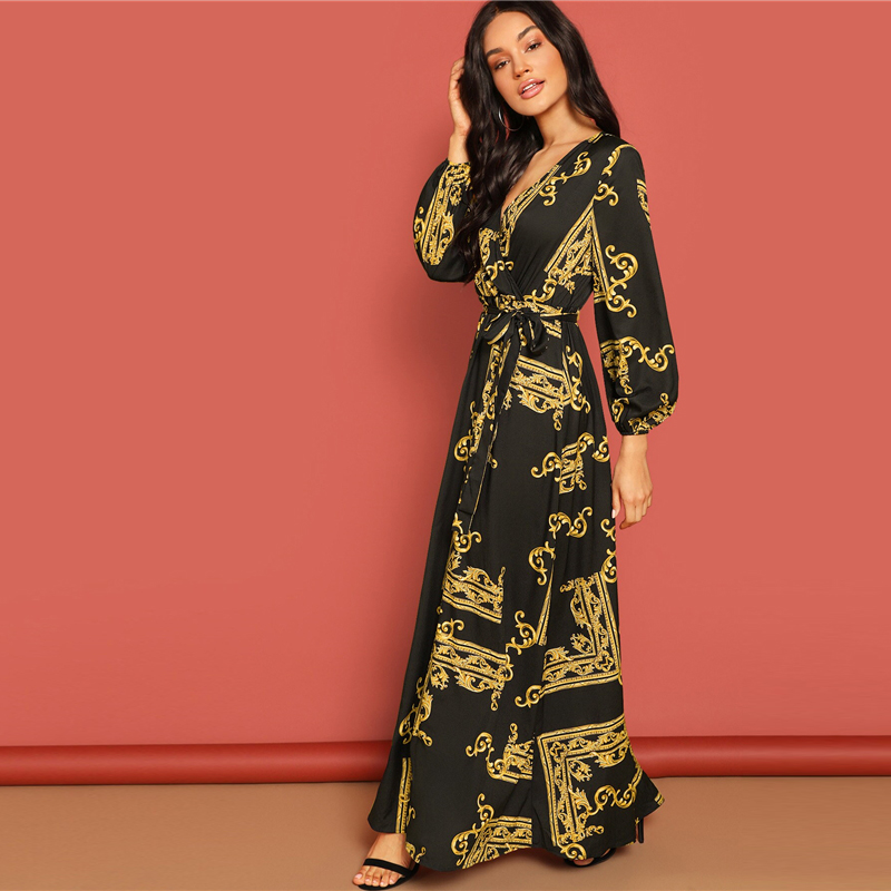 COLROVIE V Neck Scarf Print Belted Wrap Casual Dress Women 19 Spring Long Sleeve Party Maxi Dress Vacation Ladies Dresses 13