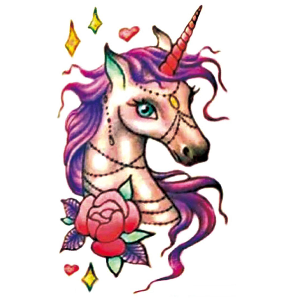 Yeeech Temporary Tattoos Sticker for Men Women Fake Unicorn Rose Animal Designs Arm Leg Sexy Body Art Waterproof Long Lasting