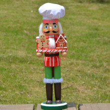 34CM Christmas Creative wood Nutcrackers collection Candy Chef Home decoration Ornament Wooden crafts