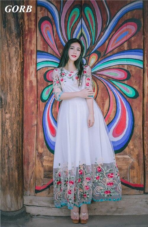 GORB 2019 date haut de gamme Designer offres spéciales mode femmes brodé vacances robes de haute qualité maille grande balançoire longue robe