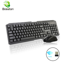 hot deal buy bosston wireless keyboard and mouse 2.4ghz waterproof keyboards with receiver for pc laptop support ios windows