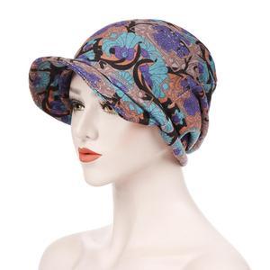 Image 5 - Moda müslüman kadınlar baskı pamuk şapka kasketleri başörtüsü saç dökülmesi kemo başörtüsü sarar Visor kalın kap bere türban şapkalar