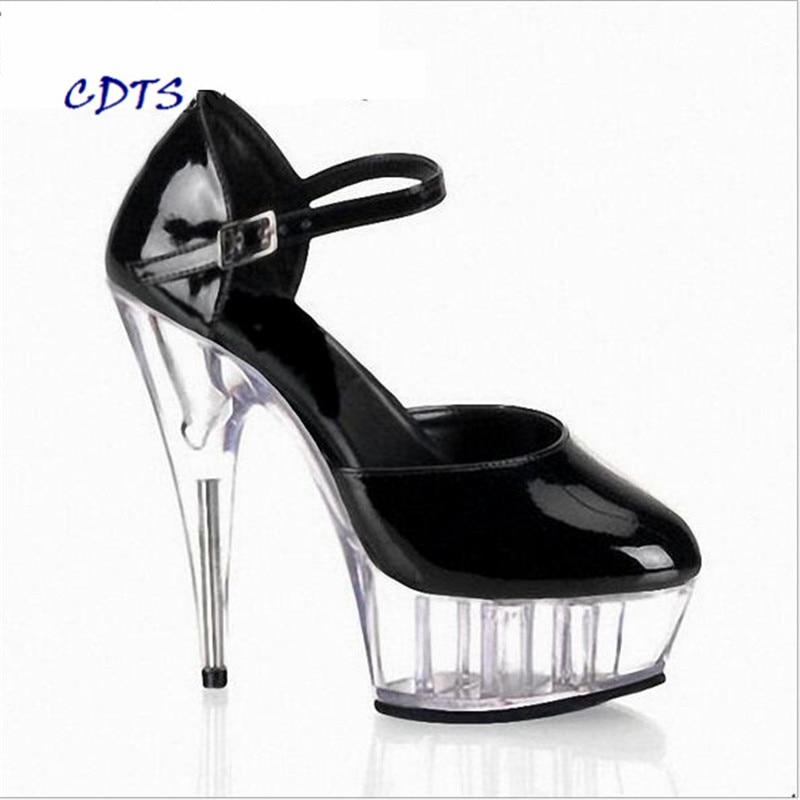 CDTS Plus: 35-45 46 printemps/automne zapatos mujer bout rond bride à la cheville 15 cm talons fins chaussures à plate-forme en cristal femmes pompes de mariage