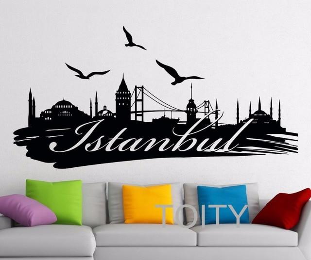 Istanbul Wandtattoo Logo Türkei Berühmte Silhouette Landschaft Wort ...