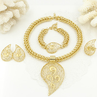 Liffly Big African Jewelry Set Luxury Bridal Dubai Gold Wedding Jewelry Sets for Women Necklace Earrings Dropshipping