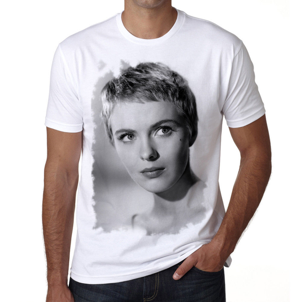 Jean Seberg Tshirt, Old Celebrities Tshirt, Tshirt Blanc Homme, Cadeau Fashion MenS T Shirts Fashion Style Casual Printed Tee