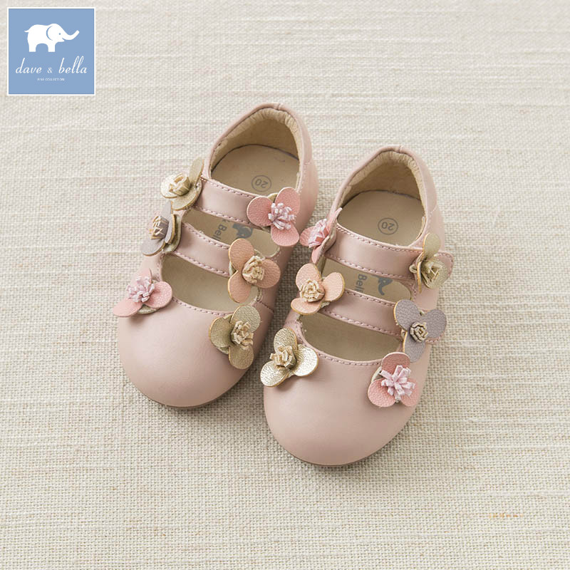 DB7286 Dave Bella printemps bébé fille chaussures en cuir enfants chaussures à fleurs