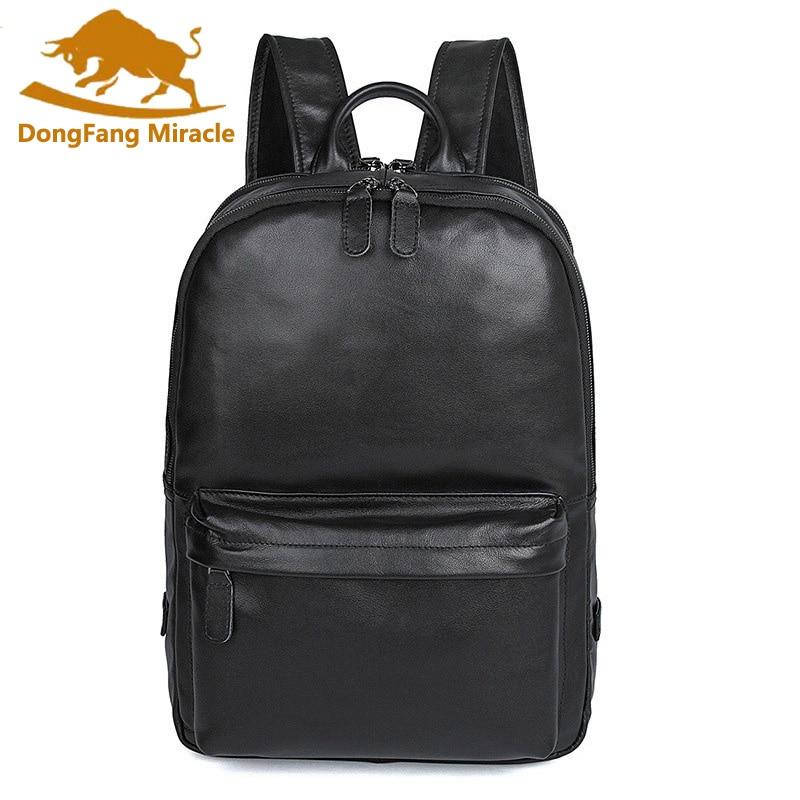 New Arrival 100% Excellent Genuine Real Leathe Retro Unisex Shoulders Backpack Bag School Bag Computer Backpack 2016 new retro 100