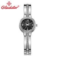 Gladster Japan Movement Women Bracelet Watch Gold Silvery Ladies Dress Clock