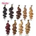 O envio gratuito de 100 g/lote brasileiro queratina i ponta Extensões de Cabelo 18-24 polegada remy onda Do Corpo Do cabelo humano 1 g/pc muitas cores em estoque