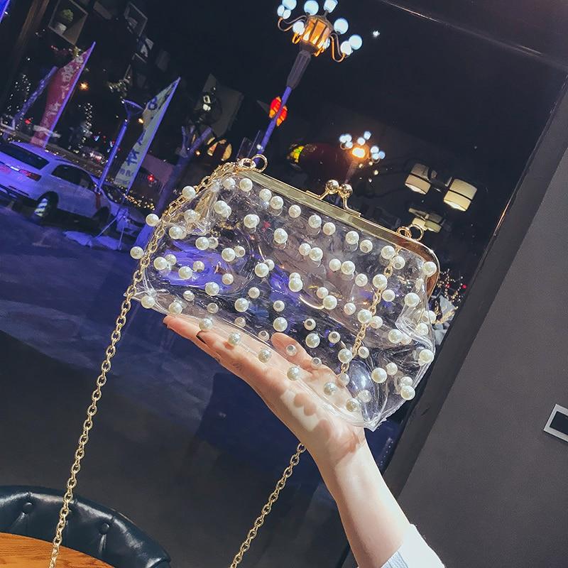 Women's Designer Handbag 2018 Summer Fashion Handbag Pearl Transparent Lady Chain Shoulder Bag High quality Elegant Female bags