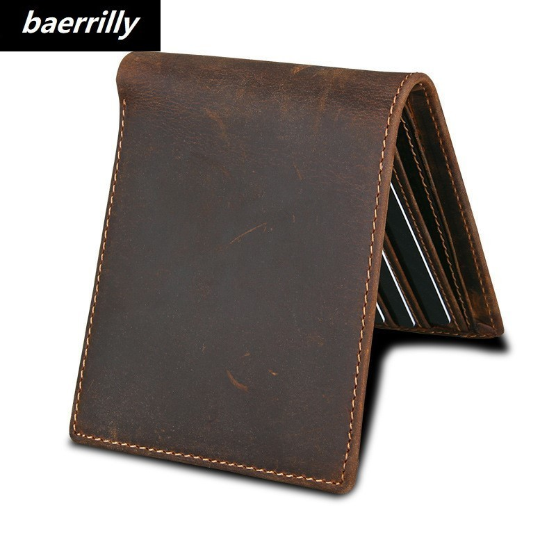 Brand New 100% Genuine Leather Men Wallets Man Famous Small Short portomonee with Coin Zipper Mini Male Purses Card Holder Walet