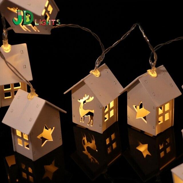 Kerst Herten Ster verlichting Wit Houten Huis 10LED Fairy ...
