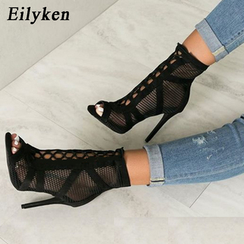 Eilyken 2020 Fashion Black Summer Sandals Lace Up Cross-tied Peep Toe High Heel Ankle Strap Net Surface Hollow Out Sandals ankle peep toe high heel newest real photo sandals hot sale side angle wing thin heel white black summer party cut out women