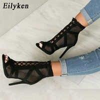 Eilyken 2020 mode noir été sandales à lacets croisé Peep orteil talon haut bride à la cheville Net Surface évider sandales